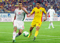 Zoltan liptak and ciprian marica in romania hungary s s pictured action during the fifa world cup qualifier game between Royalty Free Stock Image