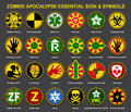Zombie Apocalypse Essential Signs & Symbols Royalty Free Stock Photos