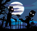 Zombie attacks at night illustration Royalty Free Stock Images
