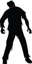 Zombie black silhouette isolaed on white Stock Image