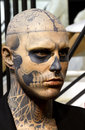 Zombie boy model rick genest also known as statue at the grévin museum in montréal Royalty Free Stock Photography