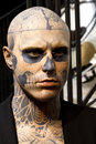 Zombie boy model rick genest also known as statue at the grévin museum in montréal Stock Photography