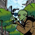 Zombie in the city halloween character comic book style illustration Royalty Free Stock Image