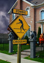 Zombie Crossing Sign for Halloween Royalty Free Stock Photo