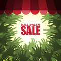 Zombie crowd Halloween sale Royalty Free Stock Photo