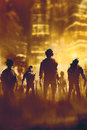 Zombie crowd walking in city Royalty Free Stock Photo