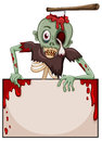 A zombie with an empty signboard illustration of on white background Stock Photo