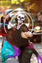Zombie Fan Dancer Performs In Halloween Parade Royalty Free Stock Images