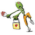 Zombie with flowers and present isolated on white sketch illustration Stock Images