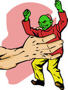 Zombie in a giant hand comic book or cartoon style illustrated Royalty Free Stock Photo