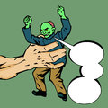Zombie in a giant hand comic book or cartoon style illustrated with speech bubble Royalty Free Stock Image