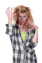 Zombie girl with messed up hair Stock Photography