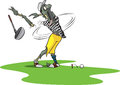 Zombie golfer a cartoon losing his arm on a driving range Royalty Free Stock Photos