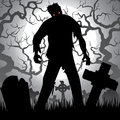 Zombie halloween background with tree tombstones and the moon on the cemetery Royalty Free Stock Images