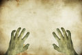 Zombie hands on grunge background useful for halloween Stock Photography