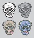 Zombie head drawing with four alternative colors Royalty Free Stock Photography