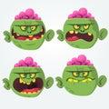 Zombie head scary spooky emotion flat icons set cartoon.