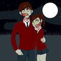 Zombie high school couple hugging together on a dark halloween full moon night Royalty Free Stock Photo