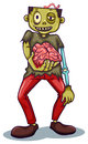A zombie holding his brain illustration of on white background Stock Photography