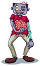 A zombie holding his brain illustration of on white background Royalty Free Stock Photos