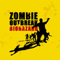 Zombie holocaust silhouettes on grungy background Stock Photos