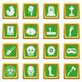 Zombie icons set green
