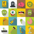 Zombie icons set parts, flat style