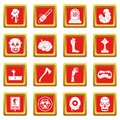 Zombie icons set red