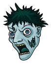 Zombie illustration of a cartoon face Stock Images