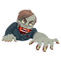 Zombie man crawling illustration of a with rotten face isolated on white background Stock Images