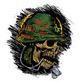 Zombie with military helmet Royalty Free Stock Photo