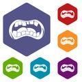 Zombie mouth icons set hexagon