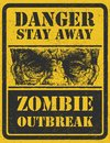 Zombie outbreak hand drawn vector eps poster sign board with face written fonts words leave illustration Royalty Free Stock Images