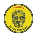 Zombie outbreak hand drawn vector eps poster sign board with face written fonts words leave illustration Stock Images