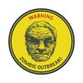 Zombie outbreak hand drawn vector eps poster sign board with face written fonts words leave illustration Royalty Free Stock Photos