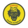 Zombie outbreak hand drawn vector eps poster sign board with face written fonts words leave illustration Stock Photo