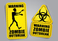 Zombie Outbreak Warning Stickers / Labels Royalty Free Stock Photo