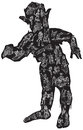 Zombie in pajamas vector illustration freehand an hand drawn eater zomboss was first than people Royalty Free Stock Photography