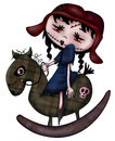 Zombie rocking horse illustration of a young girl on a Royalty Free Stock Photography