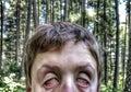 Zombie selfie crazy looking in woods Royalty Free Stock Photo