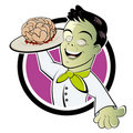 Zombie serving cooked brains Stock Photography