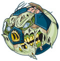 Zombie soccer ball vector cartoon a color elements are in a separate layer in the eps for easy customization Stock Photo