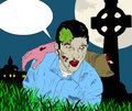 Zombie with speech bubble a gray an arm on his shoulder in a garden of a haunted house at night Stock Photos