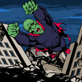 Zombie super villain comic book illustrated in a destroyed city Royalty Free Stock Photography