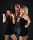 Zombie vampire and witch in the studio Royalty Free Stock Images