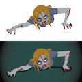Zombie woman crawling scary isolated on white background and over a dark background Stock Images