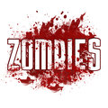 Zombies red messy blot text in white font over a bloody spatter over white background Royalty Free Stock Image
