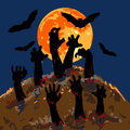 Zombies s hands emerge from grave with background of full moon and flying bat halloween concept Royalty Free Stock Photo