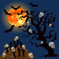 Zombies s hands emerge from grave with skull under full lmoon halloween concept Stock Images