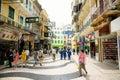 Zona peatonal histórica de Macau Imágenes de archivo libres de regalías